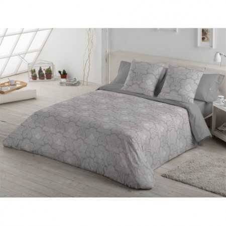 ES-TELA - Juego de funda nórdica tejida CANGAS - Color gris - Cama de 180 cm