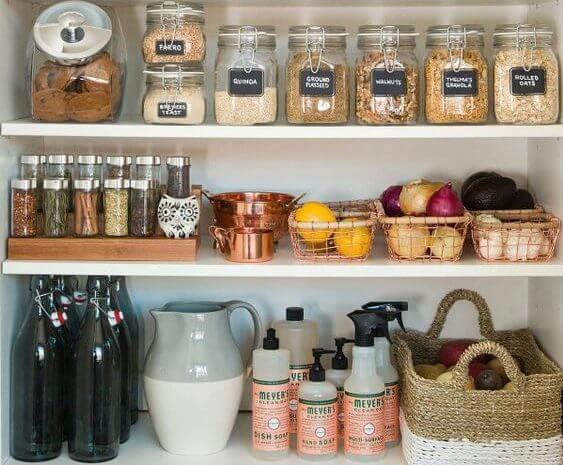 ordenar la cocina con etiquetas metodo Marie Kondo