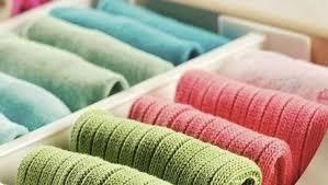 calcetines y ropa interior doblada segun Konmari